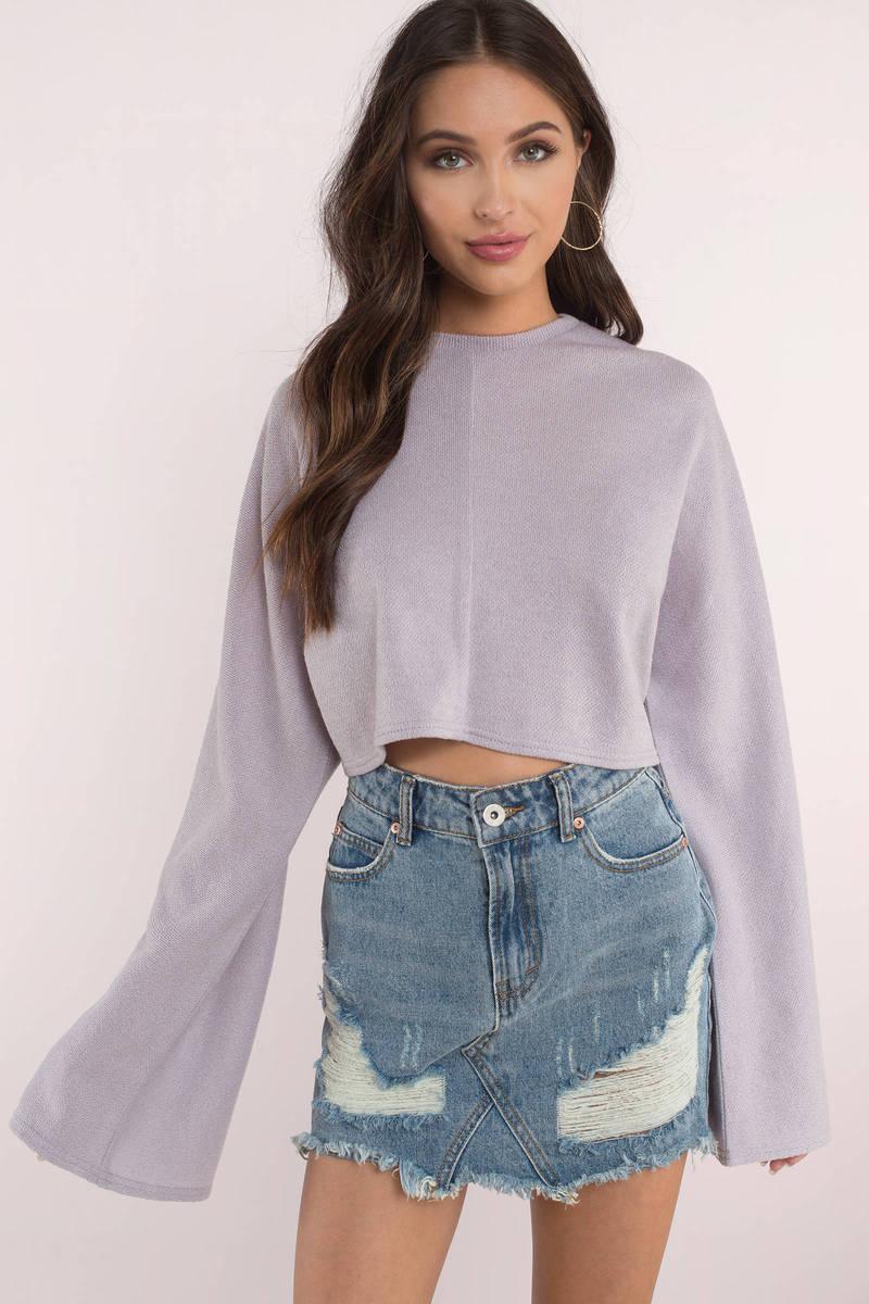 2b3c270d96d33 Cute Lilac Top - Bell Sleeve Crop Top - Long Sleeve Top -  13