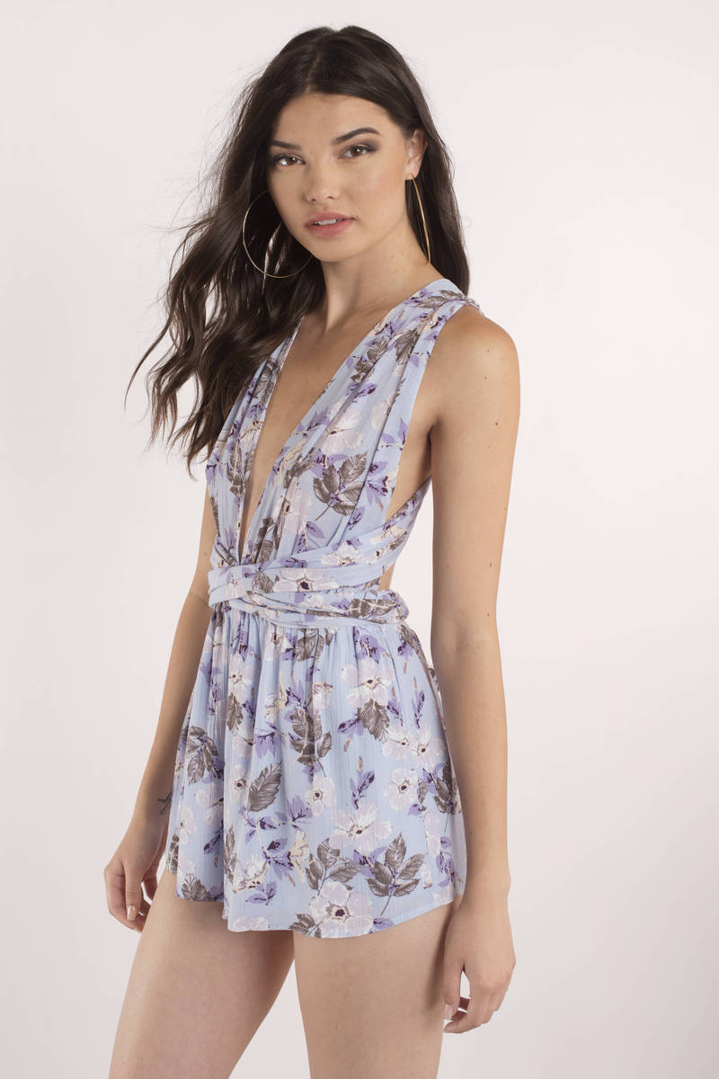 Lily Lilac  Floral Plunging Romper