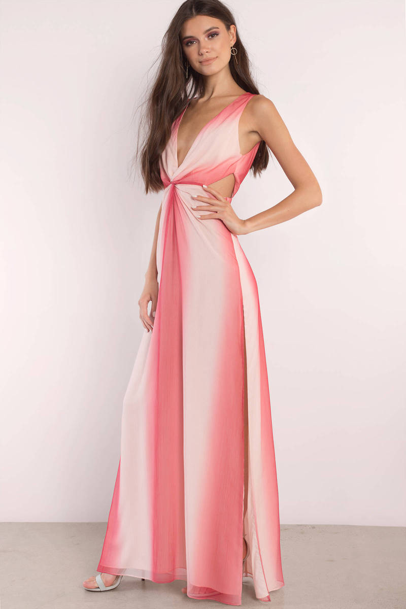The Jetset Diaries The Jetset Diaries Mandia Print Pink Slit Maxi Dress