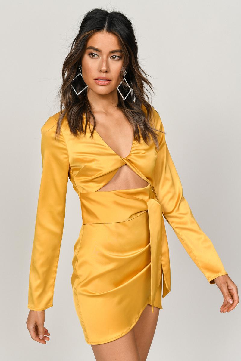 4da7653a9b3 So Unreal Marigold Satin Bodycon Dress -  30