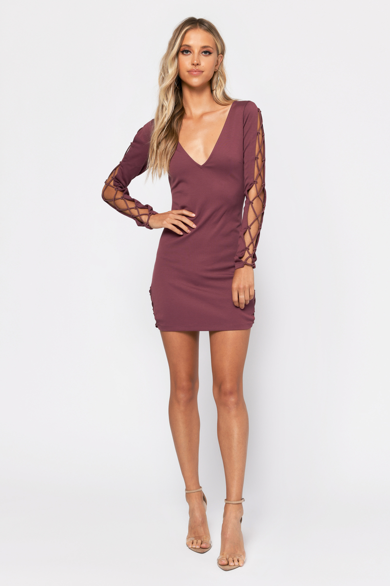 39dadfa280 Cute Dress - Lace Up Long Sleeve - Deep V - Marsala Dress -  23 ...