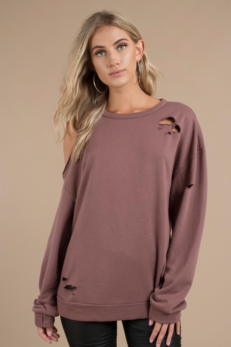 Bare Bones Cold Shoulder Sweatshirt