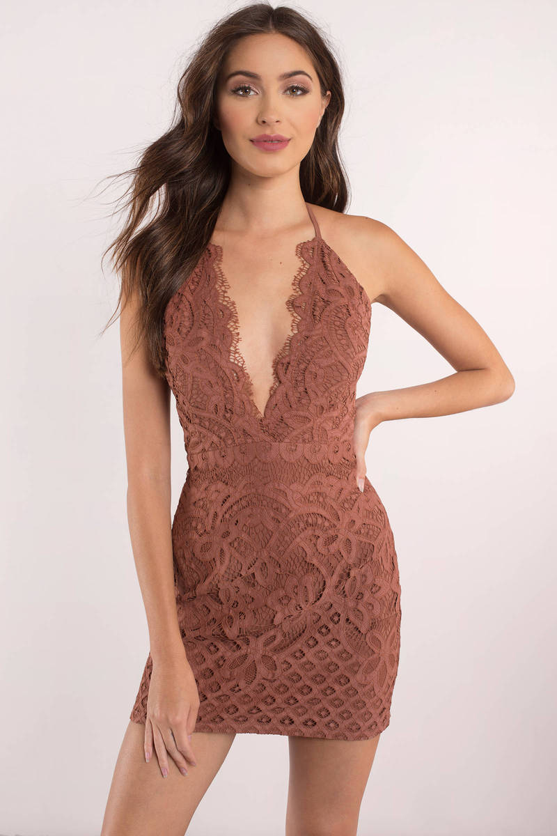 Sexy Bodycon Dress Plunging Neckline Backless Bodycon