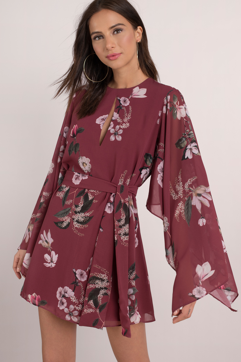 e286856d6840 Purple Shift Dress - Keepsake Floral Tea Dress - Wine Long Sleeve ...