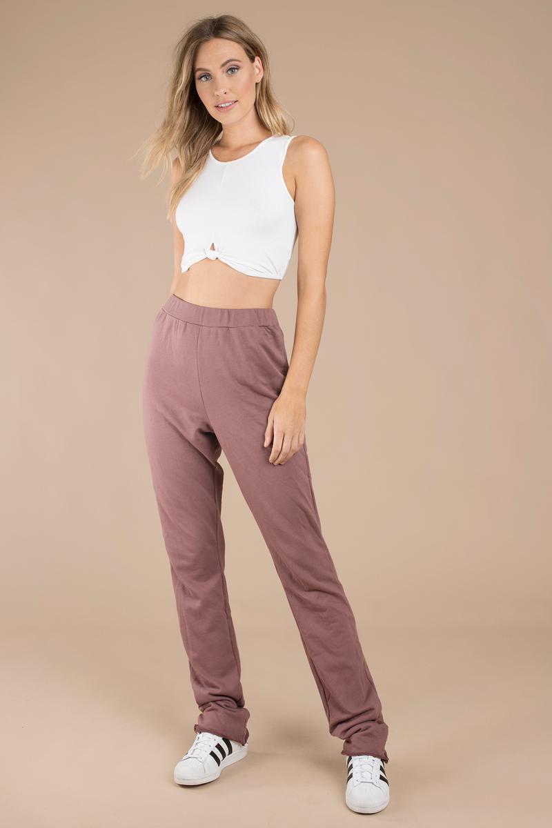 5c7656d94f21 Pink Pants - Soft High Waist Pants - Pink Straight Leg Pants -  8 ...
