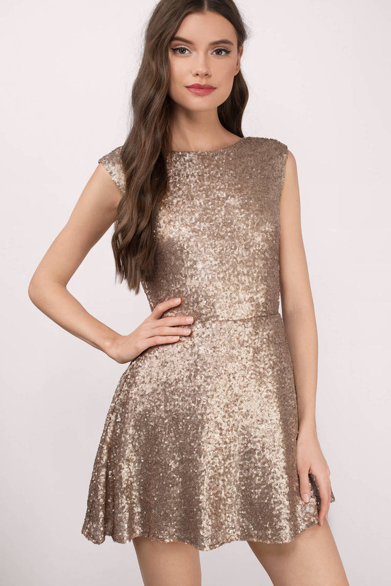 257378bc3f Matte Gold Skater Dress - Open Back Dress - Sparkly Rose Gold Dress ...