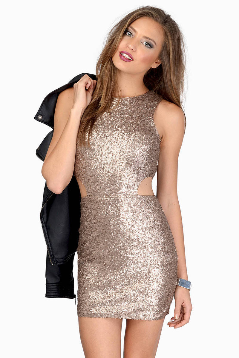 Gold Bodycon Dress Sequin Cocktail Dress Gold Sequin