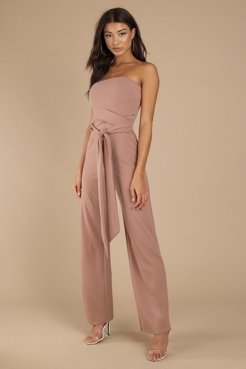 7d0cc84116c2 Pink Jumpsuit - Strapless Jumpsuit - Pink Front Tie Jumpsuit - $88 ...