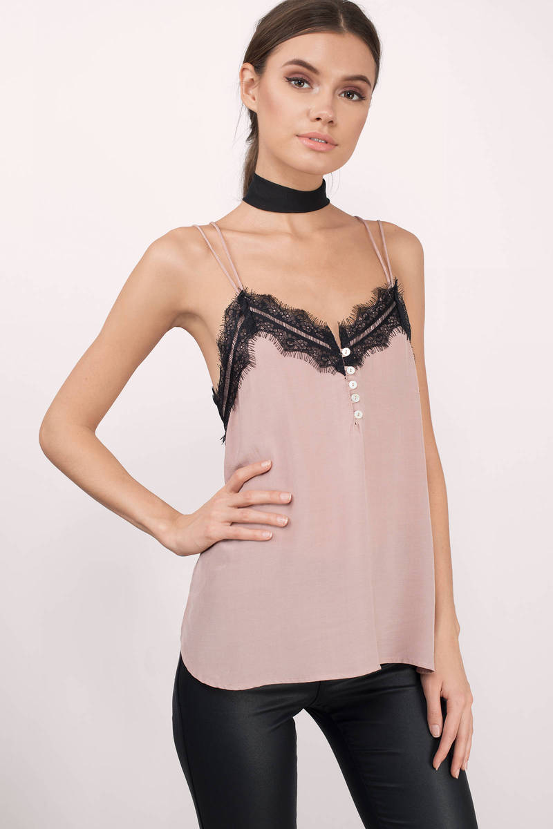 Anabel Mauve Lace Tank Top