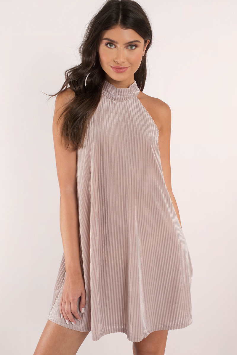 Arya Mauve Velvet Shift Dress