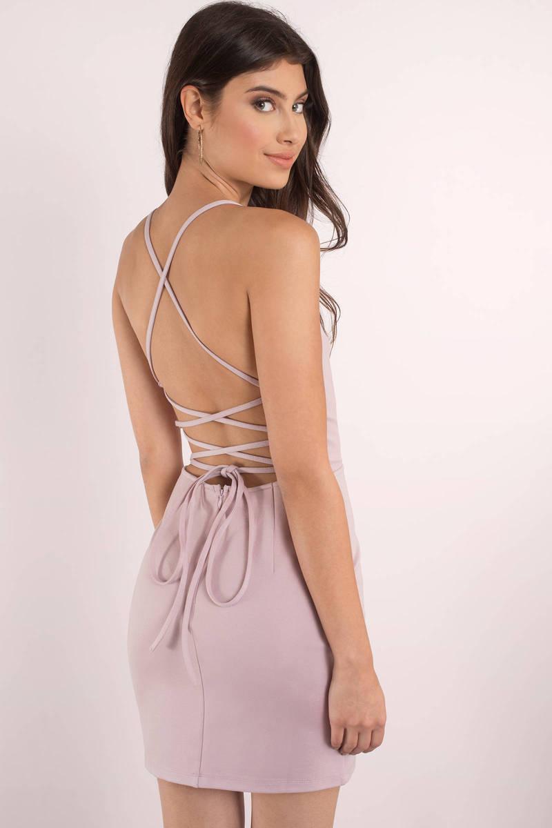 fc437b07eeb Sexy Mauve Dress - Strappy Dress - Stretch Mauve Dress - Bodycon ...
