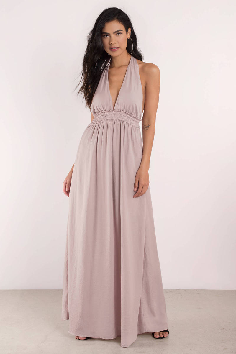 Chantelle Halter Mauve Maxi Dress
