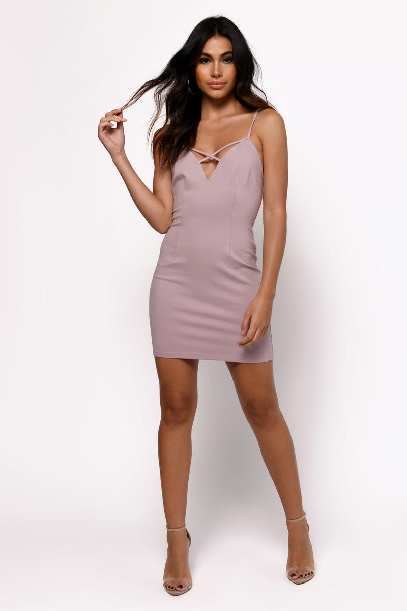4ae5c9ad45b Mauve Dress - Bandage Dress - Strappy Dress - Polyester Bodycon ...