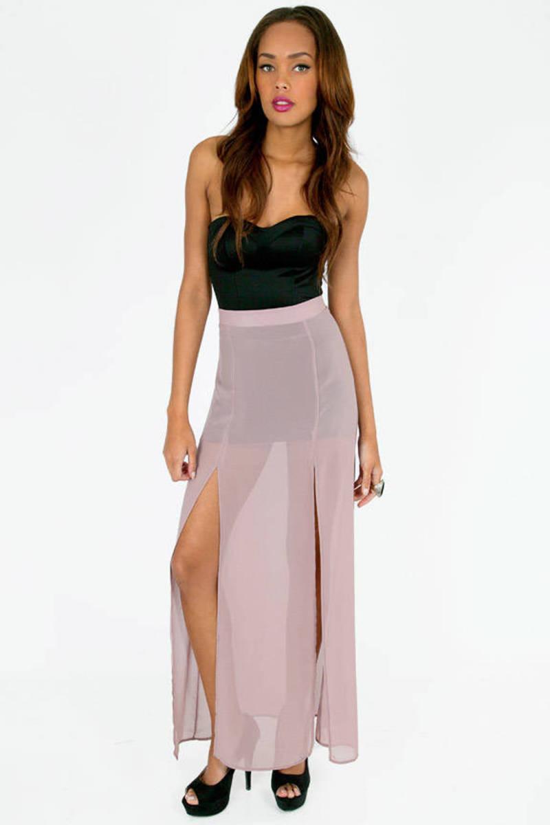 Duo Mauve Chiffon Maxi Skirt