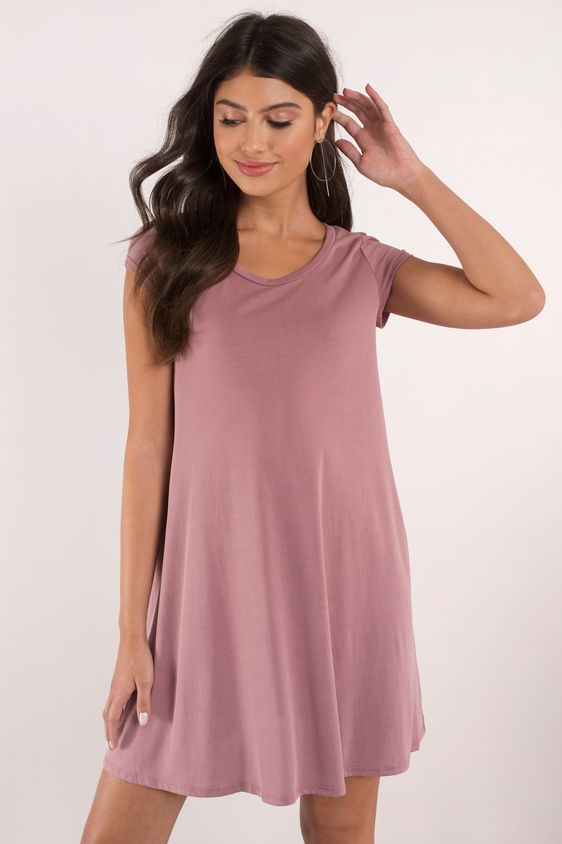 ef1719971ce1a Mauve Dress - Tee Shirt Dress - Jersey Trapeze Dress - Day Dress ...
