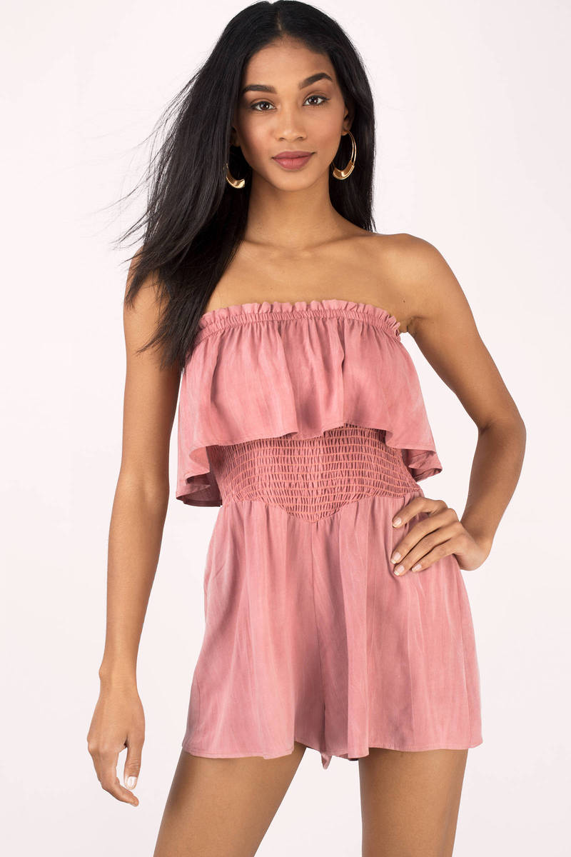 Faye Olive Tiered Off Shoulder Romper