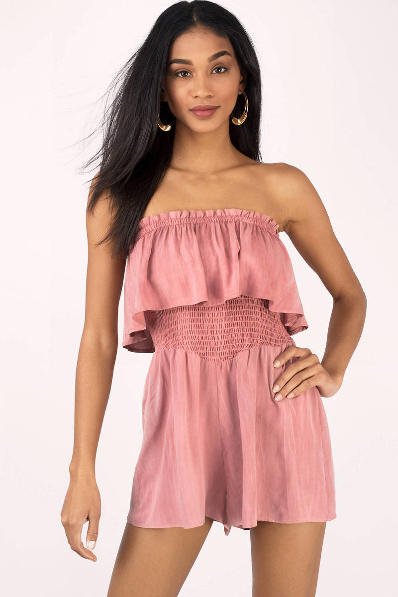 Faye Olive Tiered Strapless Romper