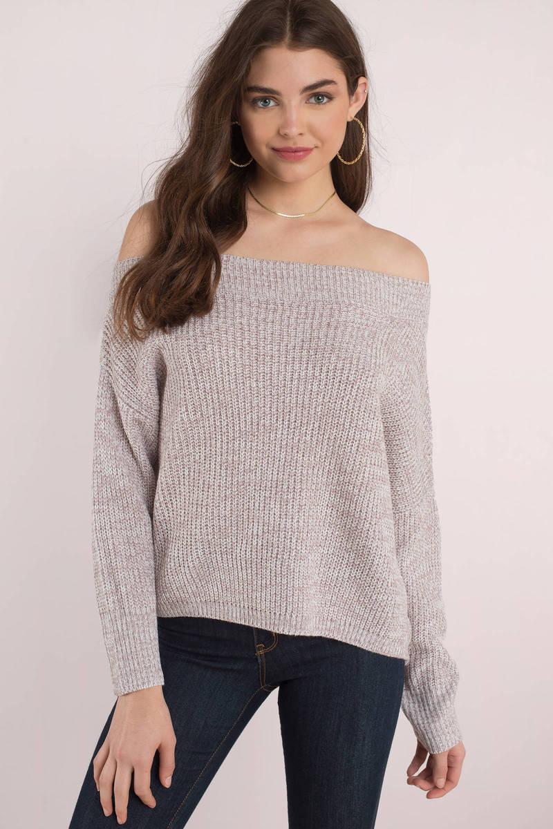 Trendy Purple Sweater - Off The Shoulder Sweater - Purple ...