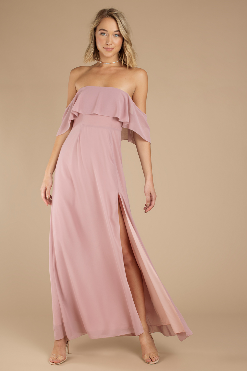 Cute Mauve Dress - Off Shoulder Dress - Front Slit Dress - $49 | Tobi US