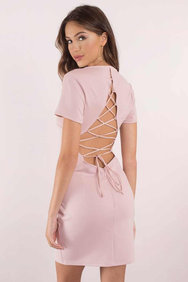 Lace Up To It Mauve Bodycon Dress