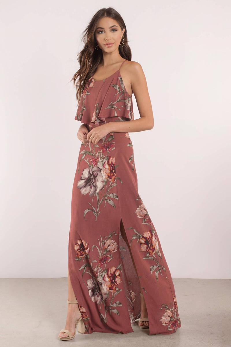5d7c9967a00 Purple Maxi Dress - Tropical Print Maxi Dress - Purple Floral Dress ...
