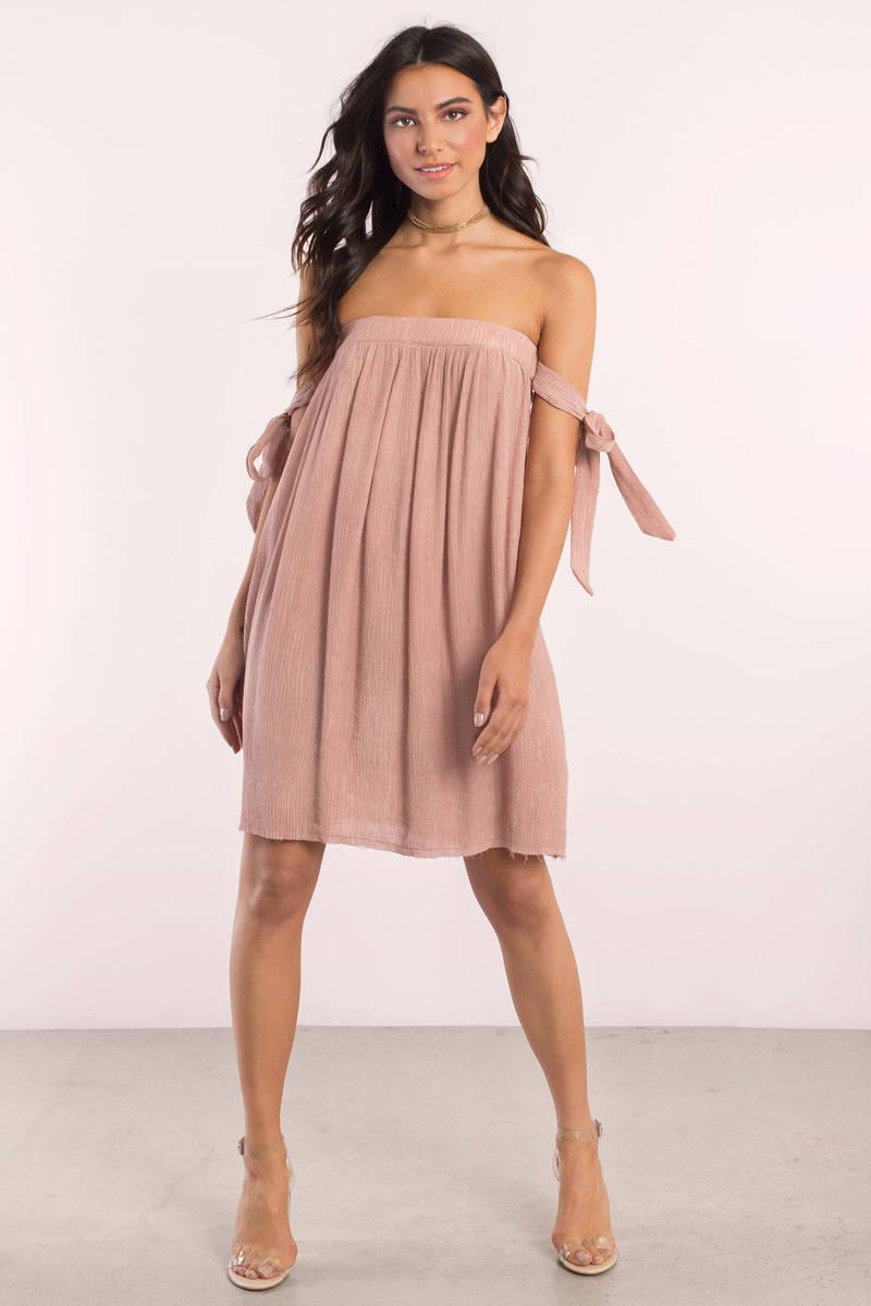 3d33ba35f7f5 Cute Mauve Day Dress - Off Shoulder Dress - Day Dress - $29   Tobi US