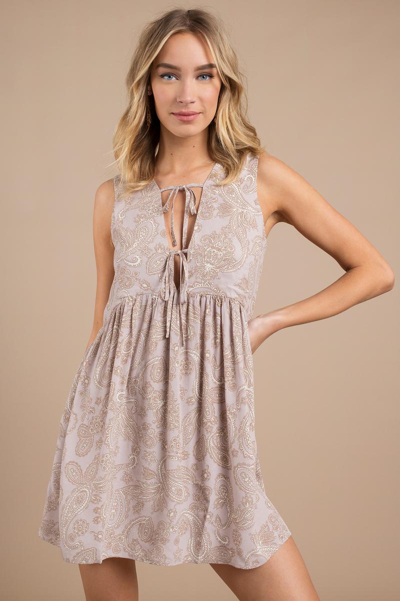 Kristina Mauve Multi Paisley Print Shift Dress