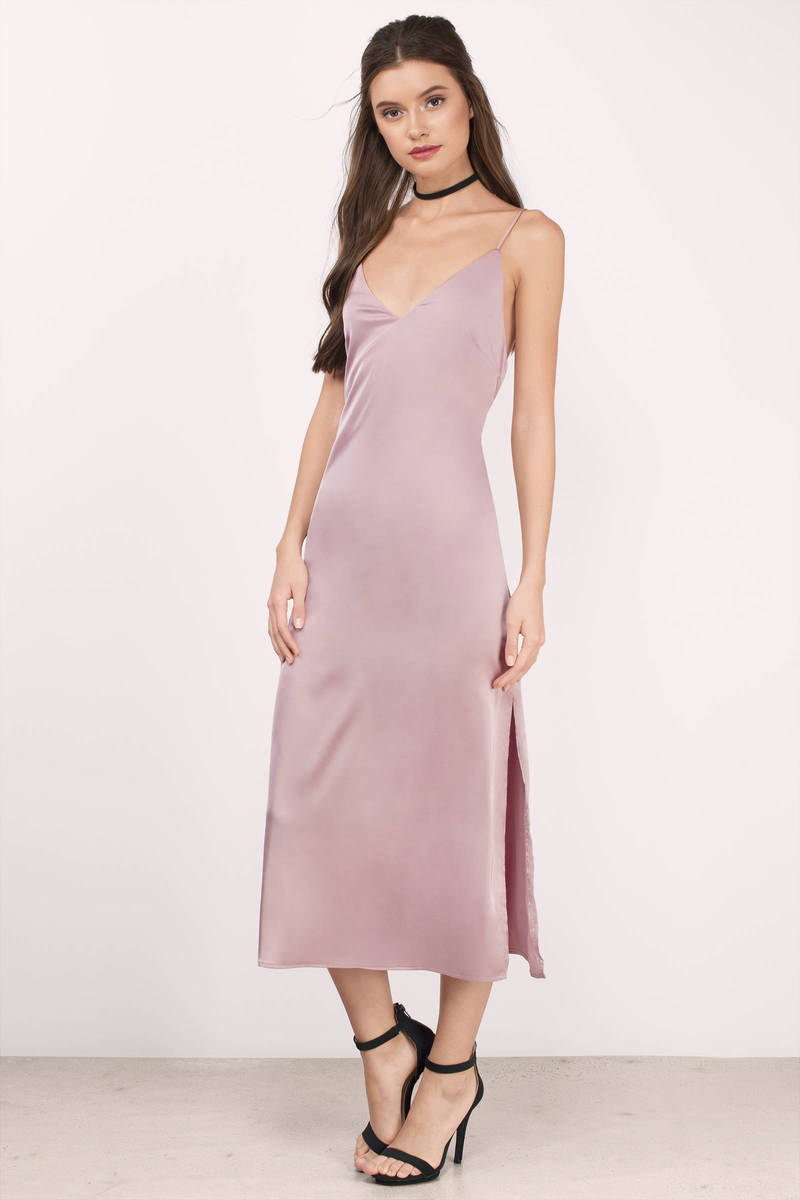 Nadine Mauve Satin Midi Dress