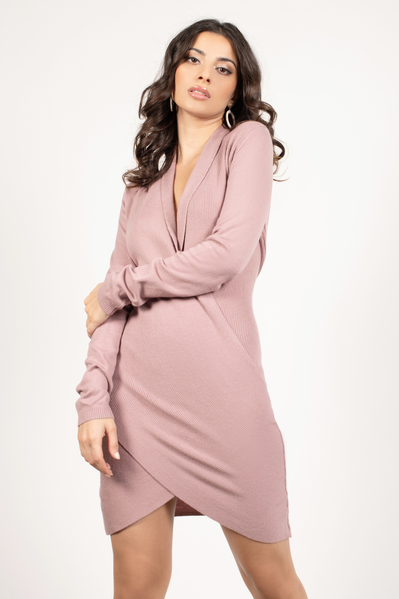90e40d3b22a Lovely Mauve Dress - Wrap Dress - Surplice Hem Dress -  35