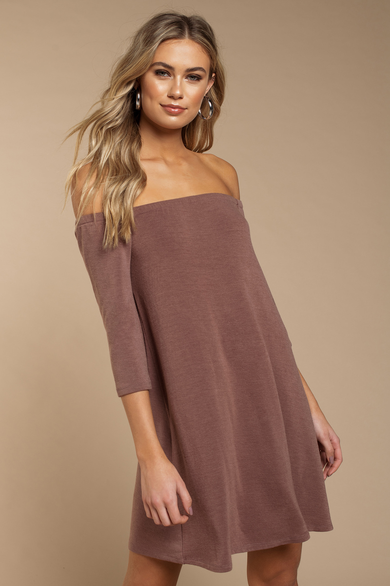 7f6f130f3433 Purple Shift Dress - Off Shoulder Dress - Long Sleeve Dress -  27 ...