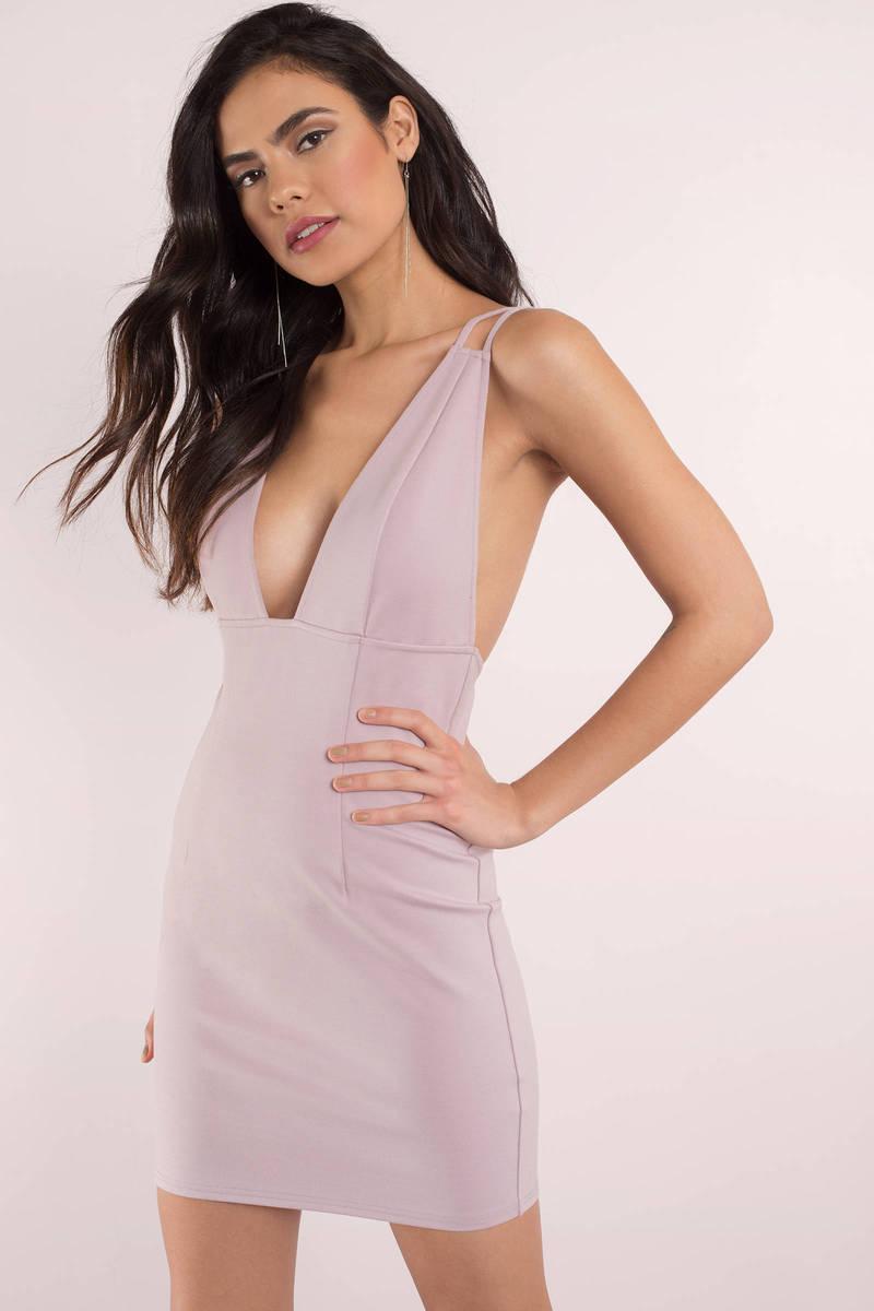 6845259408a Sexy Mauve Dress - Deep V Dress - Form Fitting Dress - Bodycon Dress ...