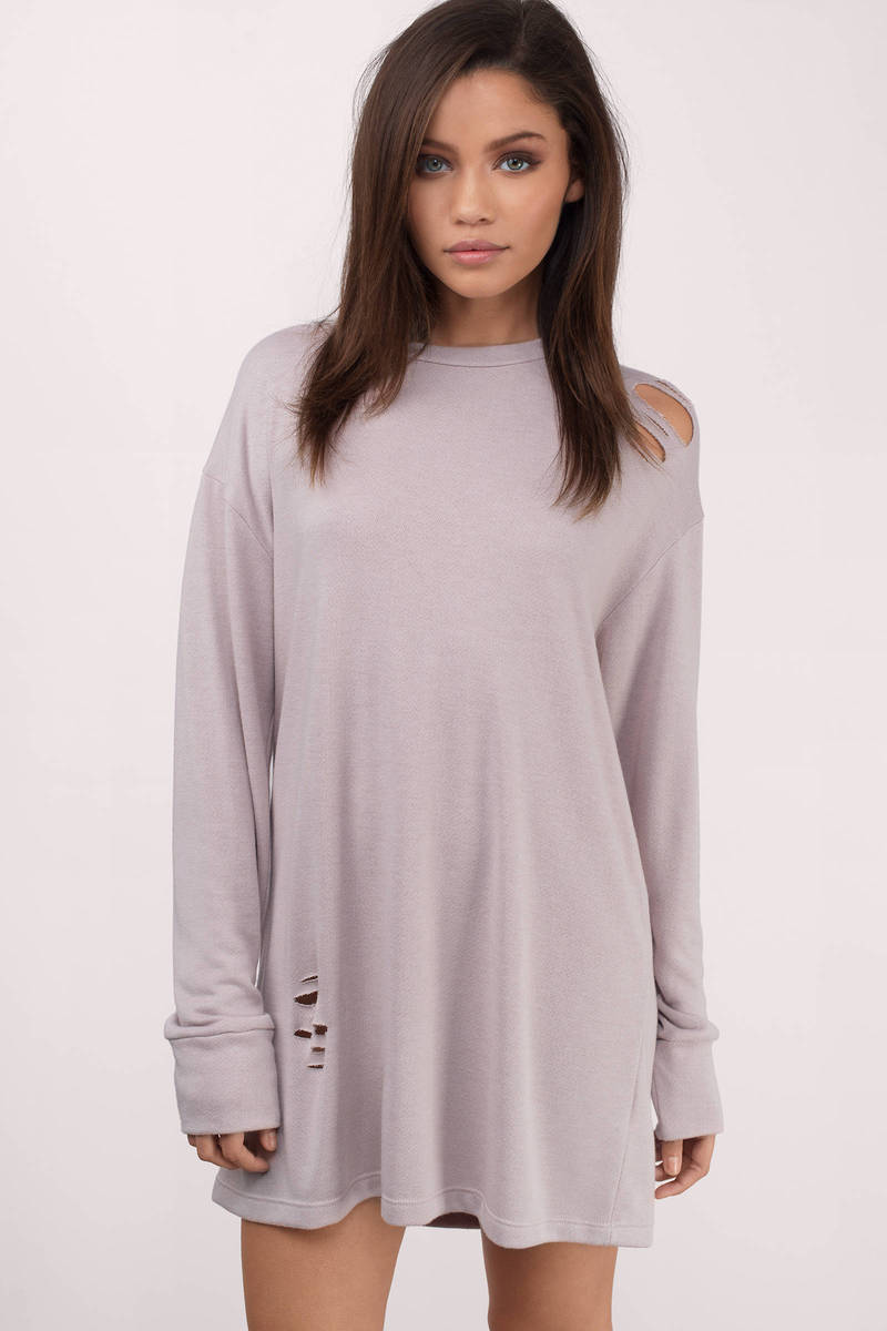 Lavender Casual Dress Distressed Dress Lavender Sweatshirt Dress
