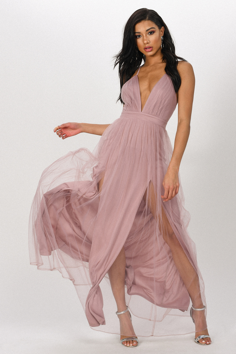 7026929dcb Mauve Maxi Dress - Pleated Formal Gown - Mauve Tulle Maxi Dress ...