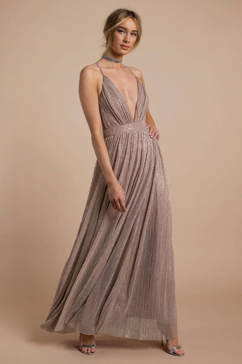 7666902e392c2 Top Sexy Pink Maxi Dress - Deep V Formal Dress - Rose Gold Maxi - $75