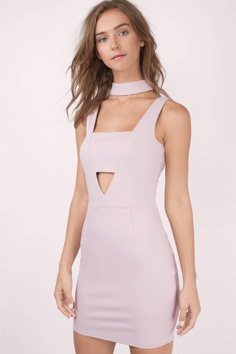 f3a54b413cb7 Chic Purple Dress - Cut Out Dress - Choker Bodycon Dress - $15 | Tobi US