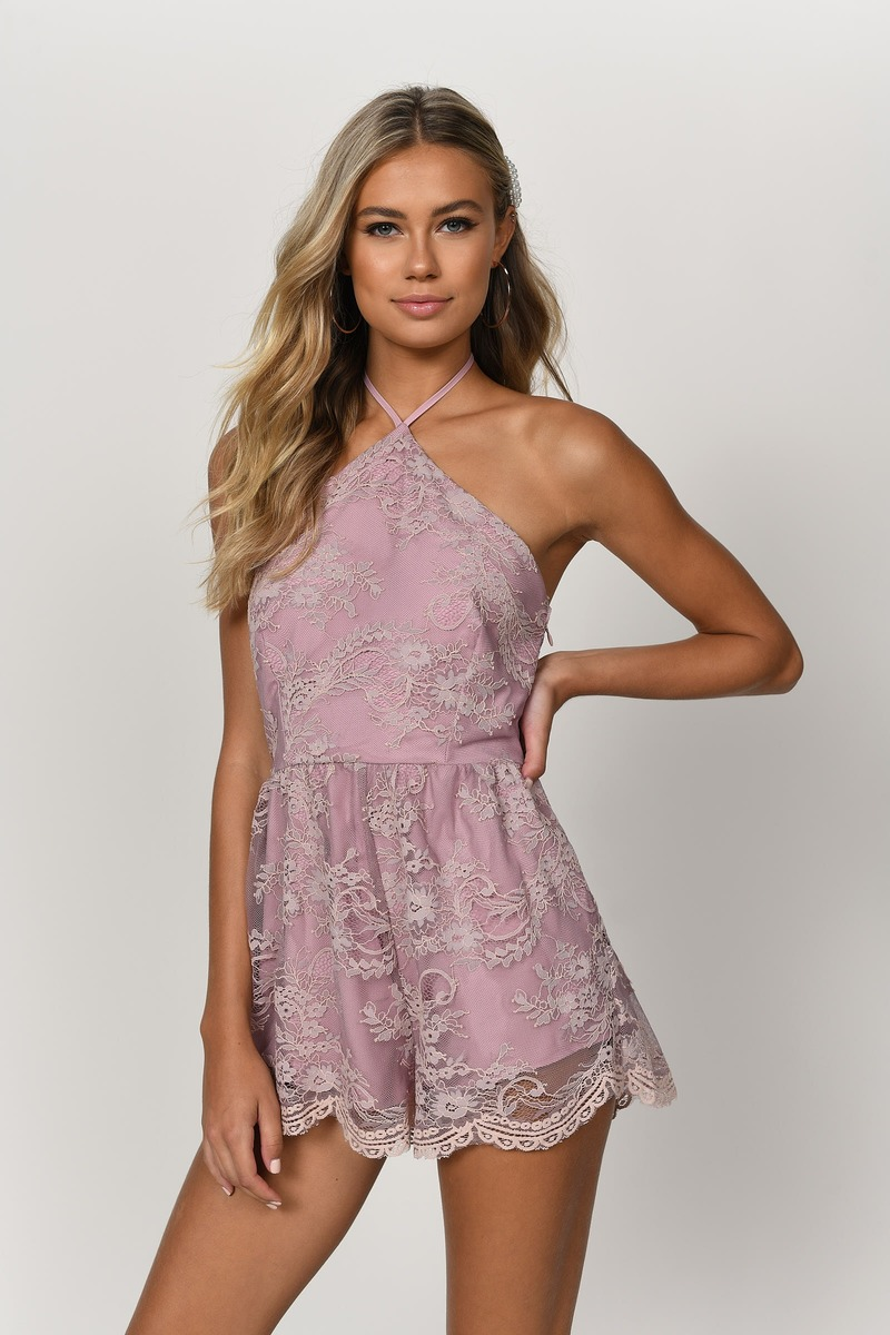 Two-Faced Mauve Lace Halter Romper