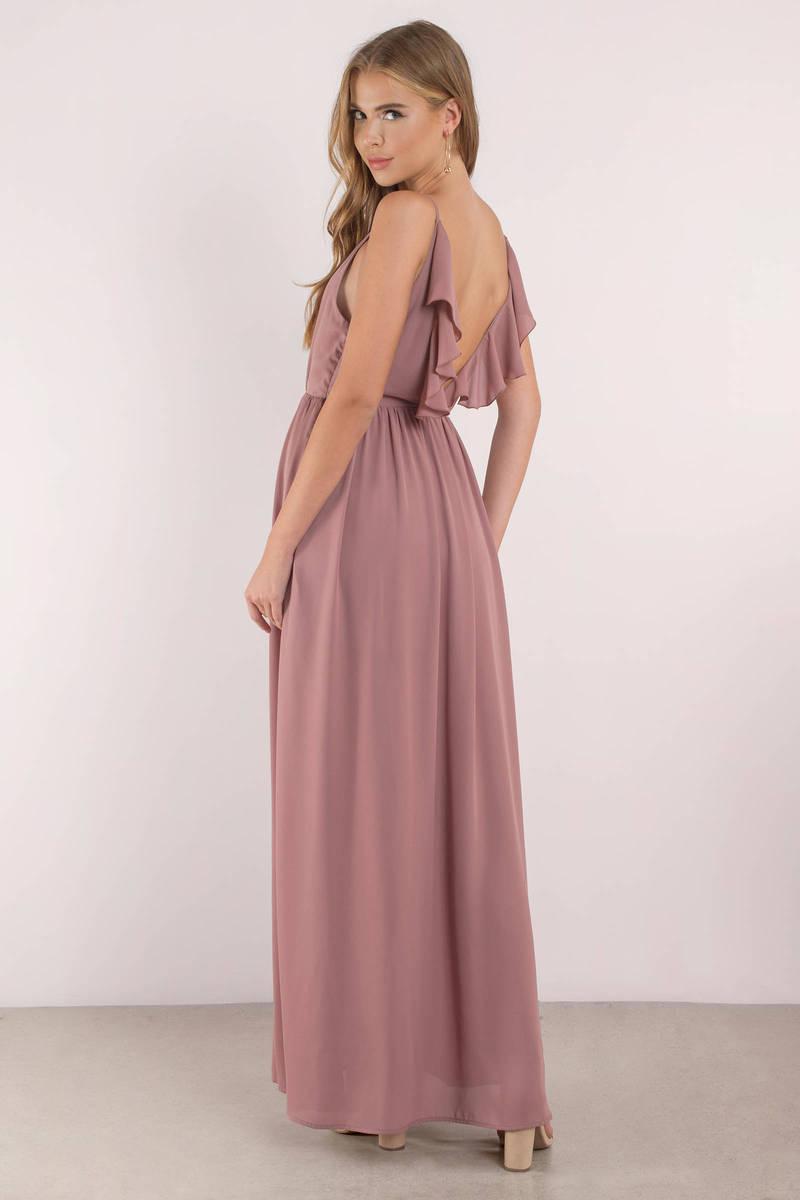 52c83a8af82 Cute Mauve Dress - Plunging Dress - Mauve Elegant Dress - Maxi Dress ...