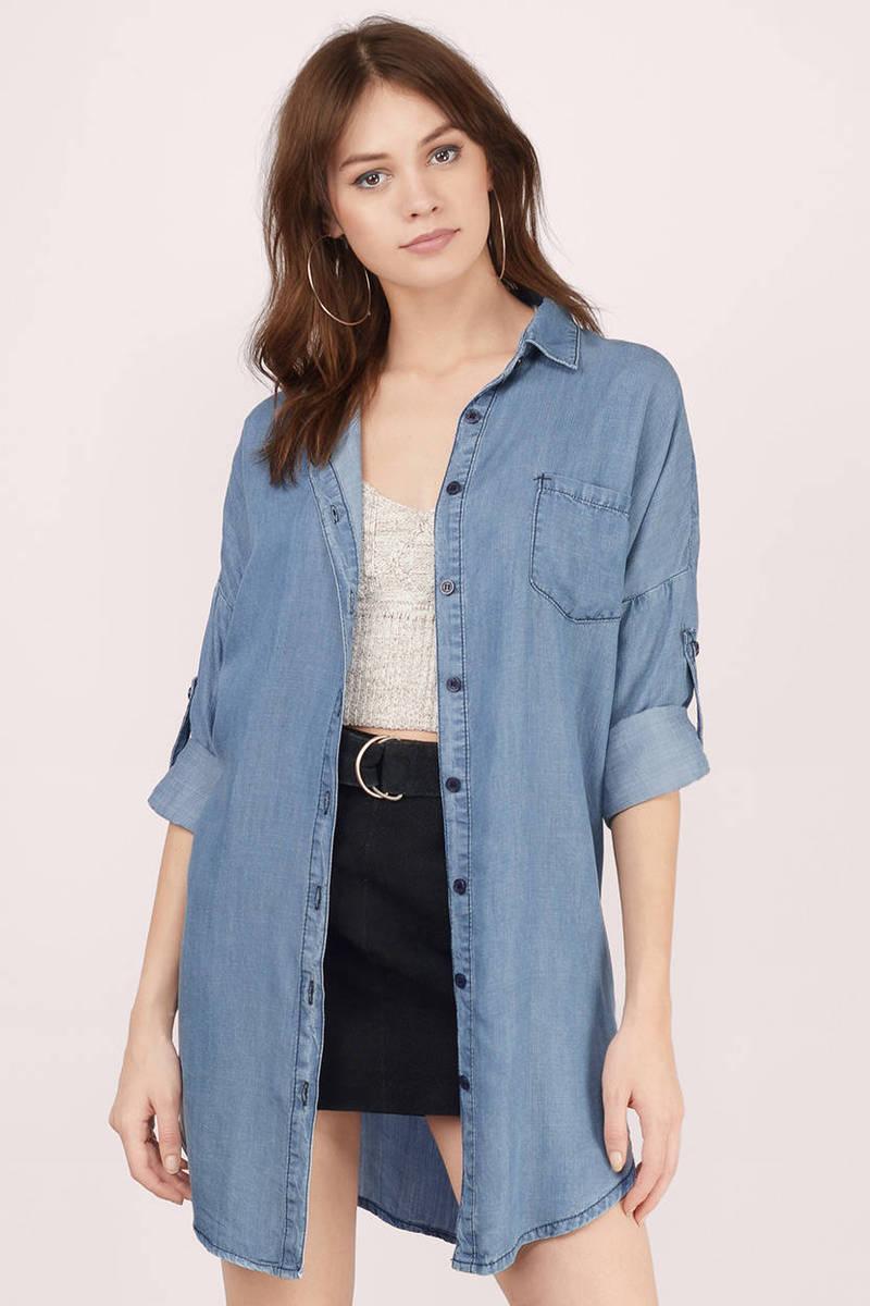 e9ca4d7bdd6b Cute Blue Shirt - Longline Denim Shirt - Blue Denim Button Up - kr ...