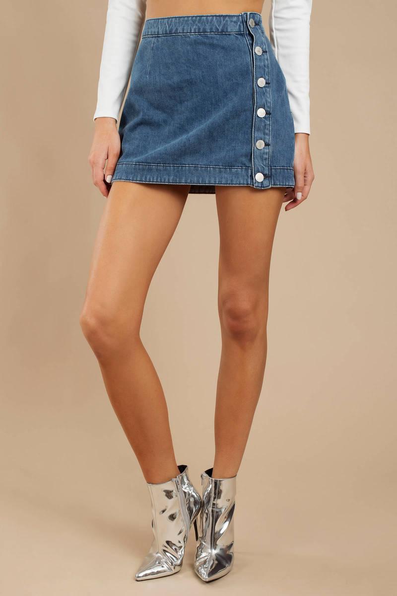 d1c4a40f60 Blue A Line Denim Skirt - Stretch Denim Skirt - Blue Button Up Skirt ...