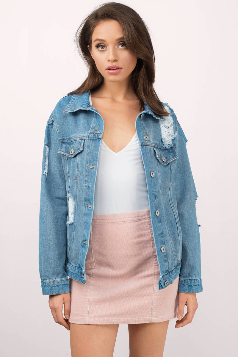 Casey Medium Wash Distressed Denim Jacket