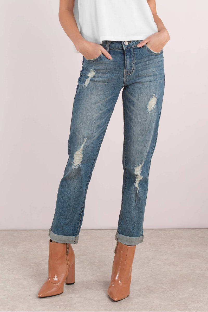 d77cac1244 Blue Jeans - Distressed Boyfriend Jeans - Blue Everyday Jeans - $15 ...