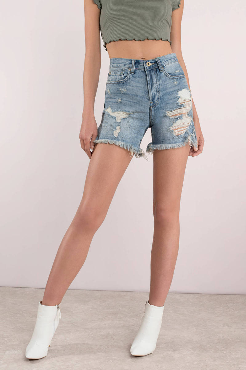 a31cb3c7312c Blue Mom Shorts - High Waisted Shorts - Pistola Blue Boho Shorts ...