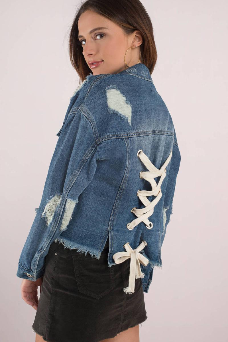db906fa9101 Blue Jacket - Lace Up Back Denim Jacket - Blue Distressed Denim ...