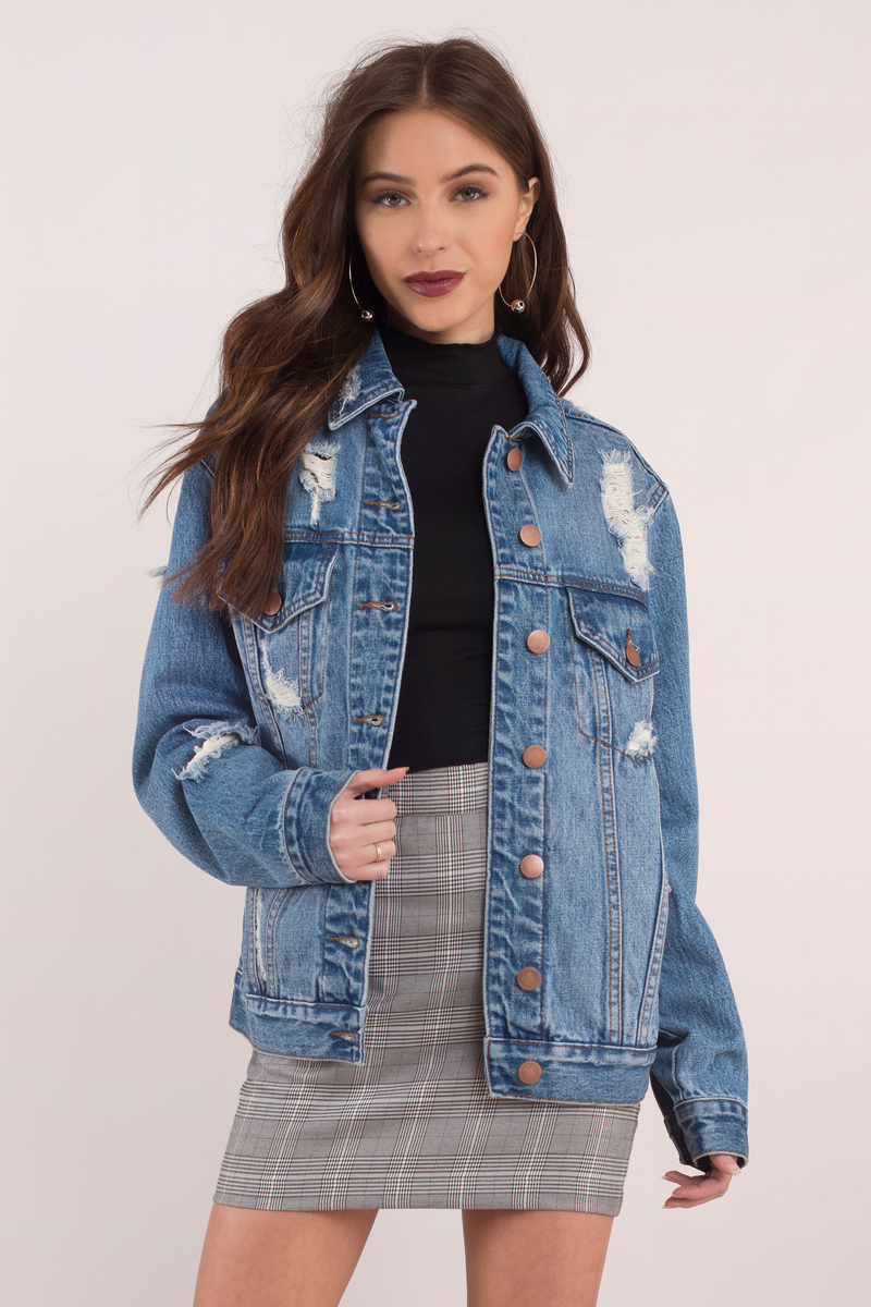 Imperial Medium Wash Distressed Oversized Denim Jacket