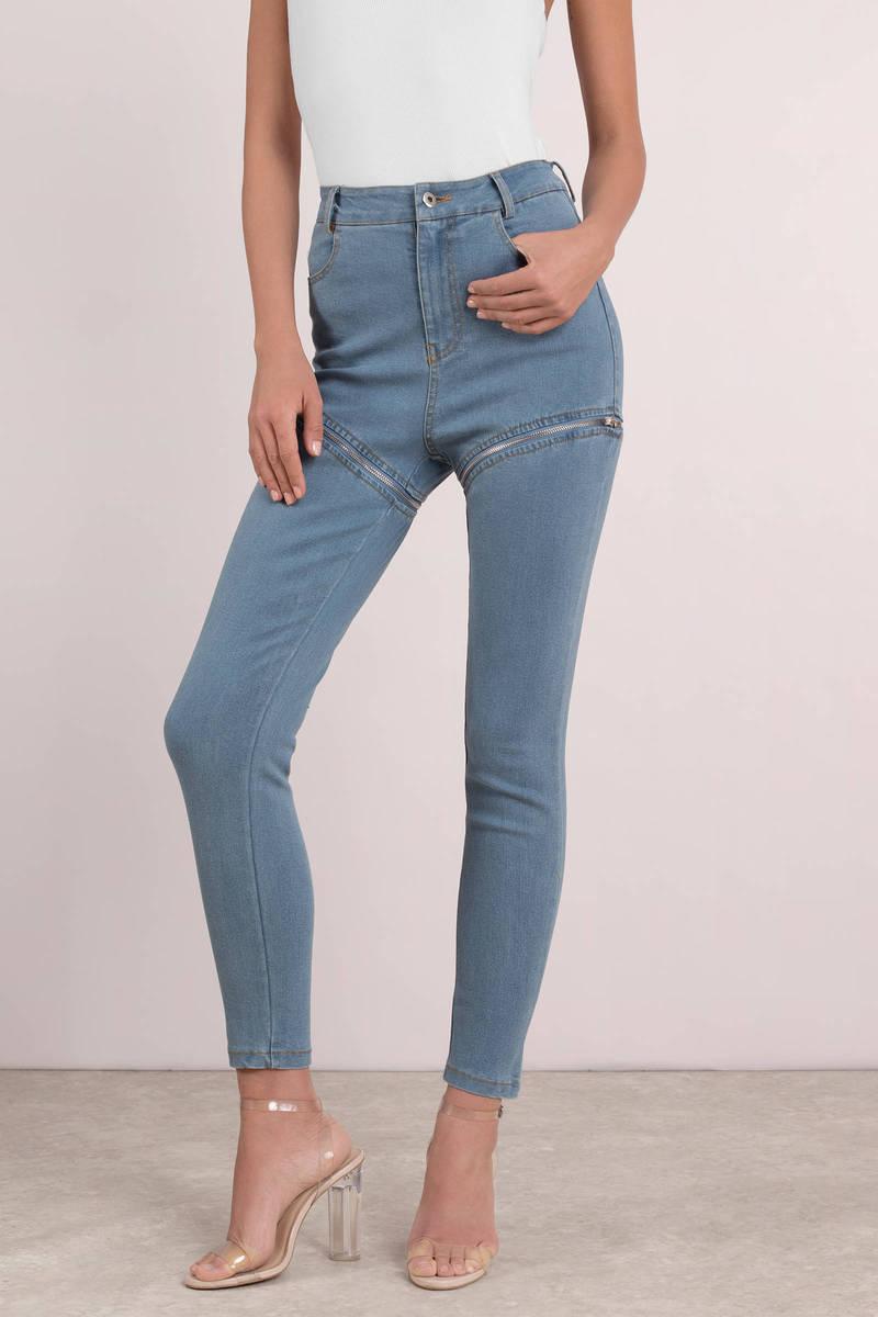 a76b332b0bb Trendy Blue Pants - High Waisted Concert Pants - Front Zip Blue ...