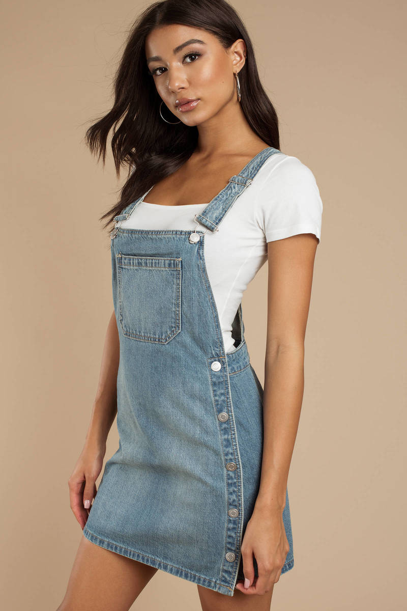 712d67a167a Blue Free People Overall Dress - Denim Pinafore - Blue Jean Dress ...