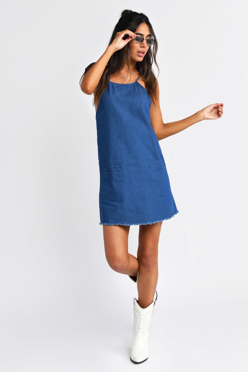 2f7a872ac8f5 Blue Shift Dress - Chambray Dress - Blue Spaghetti Strap Dress - $26 ...