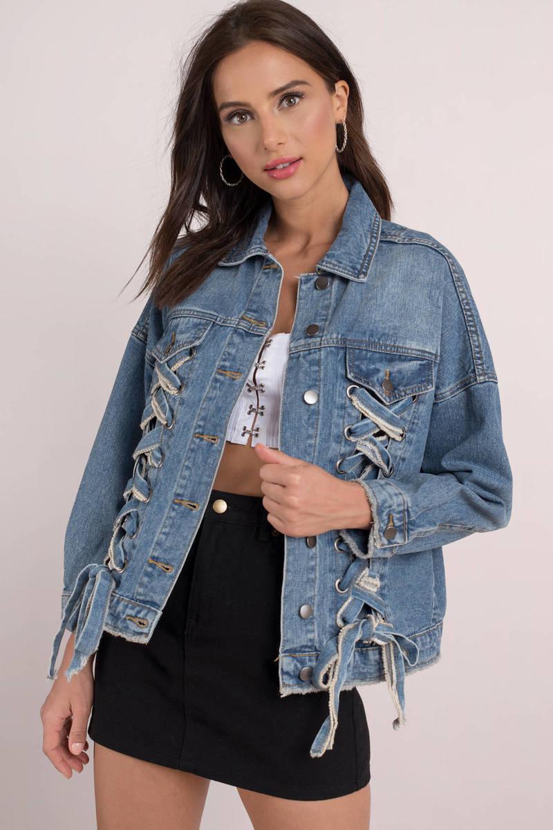 Blue Jacket Abstract Jacket Blue Front Tie Denim Jacket 80