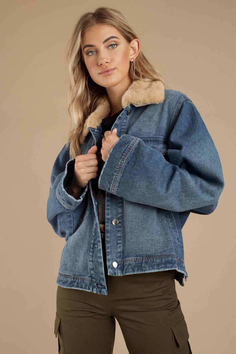 dad79eb6bbaa Blue Tiger Mist Jacket - Faux Fur Collar Jacket - Blue Denim Jacket ...