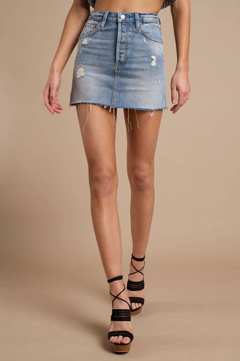 5f8defebcede Blue Denim Skirt - Distressed Skirt - Short Blue Skirt - Ripped ...